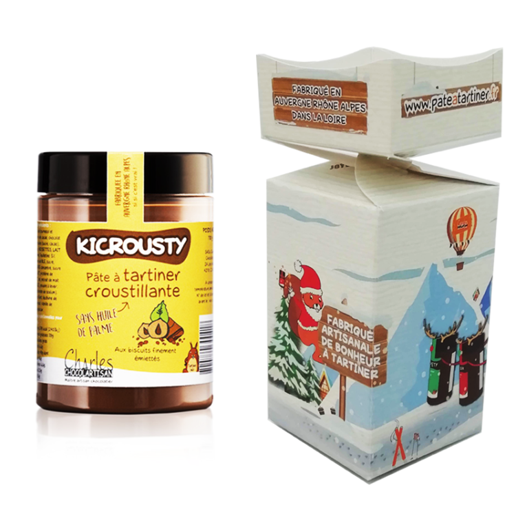 """""""Papillotte"""" en carton décoré sur le thème de Noël contenant un pot de Kicrousty (pâte à tartiner choco-noisette croustillante) de 110 g"""